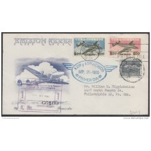1955-FDC-14 CUBA. REPUBLICA. 1955. AVIONES 2 Y 5$. REGISTERED COVER COMPLETE SET. BLUE CANCEL.