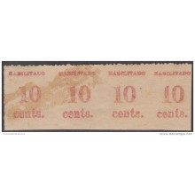 1899-100 CUBA US OCCUPATION. 1899. PUERTO PRINCIPE. 10c. TIRA IMPRESIÓN FALSA. FORGERY. PARA ESTUDIO.