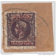 1899-102 CUBA US OCCUPATION. 1899. PUERTO PRINCIPE. 5c. Ed.14HI. FALSO FILATELICO. FORGERY. PARA ESTUDIO.