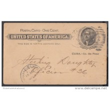 1899-EP-55. CUBA US OCCUPATION. 1899. ENTERO POSTAL. 1c. Ed.39r. IMPRESO PRIVADO. ERROR SIN PUNTO DESPUES DE PESO.