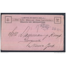 1898-H-40. CUBA ESPAÑA SPAIN. INTERVENCION. OCT 1898. SOBRE IMPRESO CON MARCA TASA POR COBRAR EN US. POSTAGE DUE.