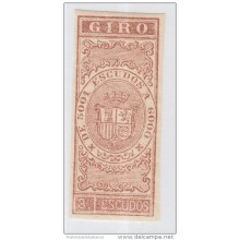 GIR-8 CUBA SPAIN ESPAÑA.1867. REVENUE. 3 escudos. PRUEBA IMPERFORADA. IMPERFORATED PROOF.