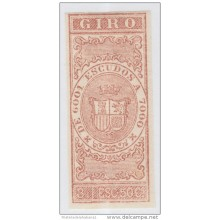 GIR-9 CUBA SPAIN ESPAÑA.1867. REVENUE. 3.5 escudos. PRUEBA IMPERFORADA. IMPERFORATED PROOF.