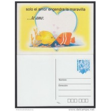 2001-EP-21 CUBA 2001. Ed.55f. VALENTINE'S DAY. SPECIAL DELIVERY. POSTAL STATIONERY. PAREJA DE PECES. FISH. UNUSED.