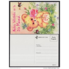 2001-EP-33 CUBA 2001. Ed.57zb. MOTHER DAY SPECIAL DELIVERY. POSTAL STATIONERY. OSO. BEAR. FLORES. FLOWERS. USED.