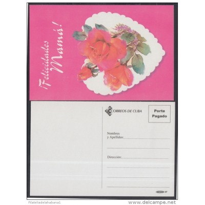 2001-EP-35 CUBA 2001. Ed.57z. MOTHER DAY SPECIAL DELIVERY. POSTAL STATIONERY. ROSAS. ROSES. FLORES. FLOWERS. UNUSED.