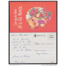 2001-EP-38 CUBA 2001. Ed.57y. MOTHER DAY SPECIAL DELIVERY. POSTAL STATIONERY. OSO. BEAR. FLORES. FLOWERS. USED.