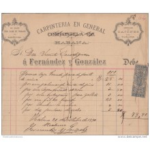 *E636 CUBA SPAIN ESPAÑA ENGRAVING INVOICE 1890 CARPINTERIA EN GENERAL