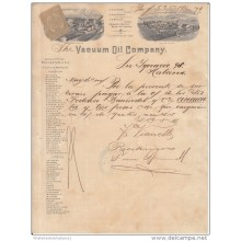 "*E648 CUBA SPAIN ESPAÑA OLD ENGRAVING INVOICE 1895 ""VACUUM OIL CO\"""