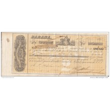"*E670 CUBA SPAIN ESPAÑA OLD ENGRAVING BANK CHECK 1867 ""RUIZ BELAUNZARAN Y CO\"""