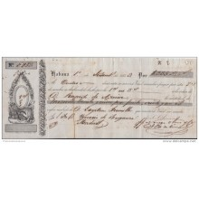 "*E673 CUBA SPAIN ESPAÑA OLD ENGRAVING BANK CHECK 1852 ""NORIEGA Y OLMO Y CO\"""