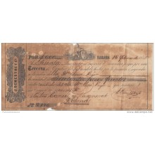 "*E674 CUBA SPAIN ESPAÑA OLD ENGRAVING BANK CHECK 1865 ""J DEMESTRE Y CO\"""