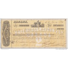 "*E675 CUBA SPAIN ESPAÑA OLD ENGRAVING BANK CHECK 1868 ""RUIZ BELAUNZARAN Y CO\"""