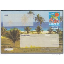 2000-EP-100 CUBA 2000. Ed.9. SOBRE CARTA. POSTAL STATIONERY. VARADERO BEACH. ERROR YELLOW INK DISPLACED. UNUSED.