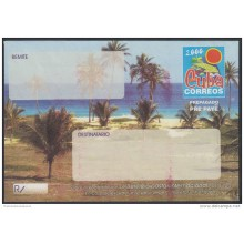 2000-EP-101 CUBA 2000. Ed.9. SOBRE CARTA. POSTAL STATIONERY. VARADERO BEACH. ERROR RED INK DISPLACED. UNUSED.