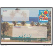 2000-EP-102 CUBA 2000. Ed.9. SOBRE CARTA. POSTAL STATIONERY. VARADERO BEACH. ERROR GREEN INK DISPLACED. UNUSED.
