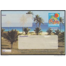 2000-EP-103 CUBA 2000. Ed.9. SOBRE CARTA. POSTAL STATIONERY. VARADERO BEACH. ERROR DISPLACED COLOR. FORMATO GRANDE. UNUS