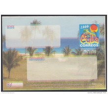 2000-EP-104 CUBA 2000. Ed.9. SOBRE CARTA. POSTAL STATIONERY. VARADERO BEACH. ERROR DISPLACED COLOR. UNUSED.