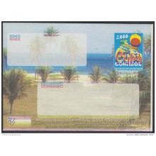 2000-EP-105 CUBA 2000. Ed.9. SOBRE CARTA. POSTAL STATIONERY. VARADERO BEACH. ERROR DISPLACED COLOR. UNUSED.