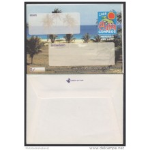 2000-EP-106 CUBA 2000. Ed.9. SOBRE CARTA. POSTAL STATIONERY. VARADERO BEACH. ERROR BLACK INK DISPLACED. UNUSED.