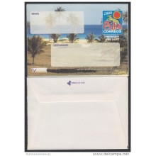 2000-EP-107 CUBA 2000. Ed.9. SOBRE CARTA. POSTAL STATIONERY. VARADERO BEACH. ERROR BLACK INK DISPLACED. UNUSED.