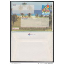 2000-EP-108 CUBA 2000. Ed.9. SOBRE CARTA. POSTAL STATIONERY. VARADERO BEACH. ERROR DISPLACED COLOR. UNUSED.
