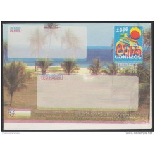 2000-EP-109 CUBA 2000. Ed.9. SOBRE CARTA. POSTAL STATIONERY. VARADERO BEACH. ERROR DISPLACED COLOR. UNUSED.