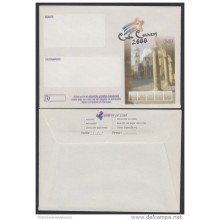 2000-EP-115 CUBA 2000. Ed.212. SOBRE CARTA. POSTAL STATIONERY. PLAZA DE LA CATEDRAL. ERROR DISPLACED COLOR. UNUSED.