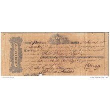 E1125 CUBA SPAIN ESPAÑA OLD DOC. DEMESTRE BANK CHECK & Co. 1865