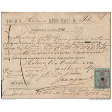 E1256 CUBA ANTILLES ANTILLAS SPANISH COLONIES HAVANA SPAIN ESPAÑA REVENUE POLICE 1884
