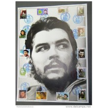 SG54- CUBA 2005 SPECIAL RED CANCEL POSTER: 27.5 x 35 cm. 14 DIFF STAMPS. ERNESTO CHE GUEVARA
