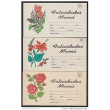 1994-EP-12 CUBA 1994. Ed.AP18. MOTHER DAY SPECIAL DELIVERY. POSTAL STATIONERY. SET 3-3. FLORES. FLOWERS. UNUSED.
