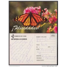 1996-EP-6 CUBA 1996. Ed.3Gb. ENTREGA ESPECIAL AÑO NUEVO. HAPPY NEW YEAR. POSTAL STATIONERY. BUTTERFLY. FLOWERS. USED