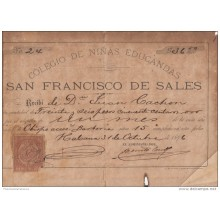 "*E646 CUBA SPAIN ESPAÑA OLD INVOICE 1896 ""COLEGIO DE NIÑAS\"""" CHILDREN SCHOOL. + REVENUE TIMBRE MOVIL 1896"""
