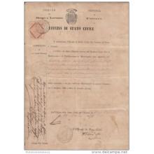 *E681 ITALY 1871 WITH REVENUE STAMPS. MARRIAGE DOC.