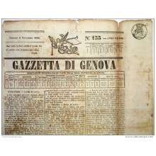 BON106 ITALIA ITALY NEWS PAPER WHITH POST PAID MARCK 1845 GAZZETA D GENOVA 40x29