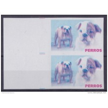 2005.229 CUBA 2005 PROOF ERROR MNH PERROS DOG BULL DOG PAIR WITHOUT COLOR