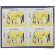 2005.230 CUBA 2005 PROOF ERROR MNH CABALLOS HORSE PAIR WITHOUT COLOR
