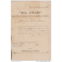 E1906 CUBA SPAIN ESPAÑA EL IRIS INSURANCE OF FIRE. SEGURO CONTRA INCENDIOS 1889.