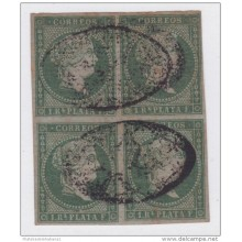 1855-81. CUBA. ESPAÑA SPAIN. ANTILLAS. ISABEL II. 1855. Ed.Ant.2. 1 REAL VERDE USADO. BLOCK 4.