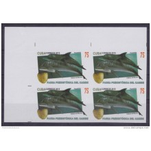 2015.107 CUBA 2015 MNH PROOF IMPERFORATED BLOCK 4 PREHISTORIC DOLPHIN DELFIN