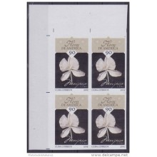 2015.120 CUBA 2015 MNH PROOF IMPERFORATED BLOCK 4 FLORES FLOWER BUTTERFLIE.