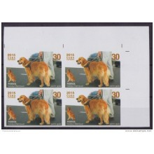 2015.129 CUBA 2015 MNH PROOF IMPERFORATED BLOCK 4 PERRO DOG GOLDEN RETRIEVER.