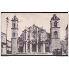 POS-100 CUBA 1911 POSTCARD HABANA HAVANA CATEDRAL CHURCH TO FRANCE.