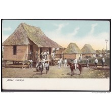 POS-109 CUBA CIRCA 1900 POSTCARD ALDEA CUBANA. CUBAN TOWN COUNTRY HUTS UNUSED