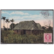 POS-111 CUBA 1917 POSTCARD BOHIO CUBANI COUNTRY HUTS TO FRANCE