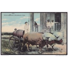 POS-113 CUBA 1911 POSTCARD TRANSPORTE DE AGUA EN EL CAMPO. WATER DELIVERING TO RESIDENCES