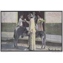 POS-119 CUBA CIRCA 1902 POSTCARD HABANA HAVANA REPARTIDOR DE LECHE EN BURRO. ASSES MILKED &amp DELIVERY AT THE DOOR. UN