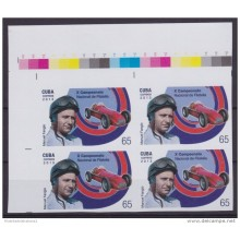 2013.414 CUBA 2013 MNH PROOF IMPERFORATED BLOCK 4 ARGENTINA FANGIO CARS F1