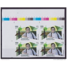 2013.415 CUBA 2013 MNH PROOF IMPERFORATED BLOCK 4 ARGENTINA MARIO BENEDETTI POET